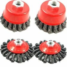 4pc TWIST KNOT WIRE CUP & SEMI FLAT WHEEL BRUSH SET for 115mm ANGLE GRINDER TOOL