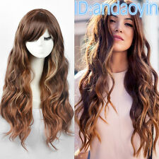 Fashion Womens Wig Long Curly Blonde Brown Highlight Party Bar Hair Full Wigs