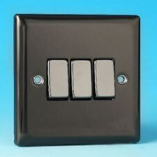 Varilight 3 Gang 1 or 2 Way 10A Rocker Light Switch Iridium Black