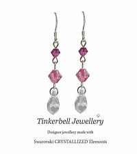 Sterling Silver Drop Earrings made with Rose Pink Swarovski Crystal Elements