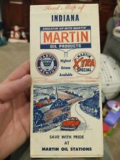 Super Old & Original 1954?  Martin Gas Station Map Of Indiana