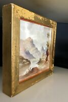 T G & F Booth Mid Victorian Landscape Painting On Ceramic Tile