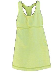 Lululemon Neon Green/Yellow Tank Top Size 4 Scoop Neck Racerback Cutouts Workout