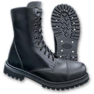 Brandit Phantom Boots 10 Loch Leder Springerstiefel Gothic Ranger Stahlkappe NEU
