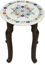 """12"""" Marble Top Coffee Table With 12"""" Wooden Stand Multi Floral Inlaid Arts W520"""