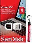 SanDisk 8GB USB SD CZ33 Cruzer Fit 8G USB 2.0 Flash Drive SDCZ33-008G +Lanyard
