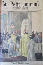FETE JEANNE D ARC AFFICHE CAISSE VICTIME GRAVELOTTE GRAVURE PETIT JOURNAL 1894
