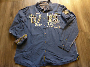 Herren Camp David Langarmhemd Gr. xxxl/3xl Blau Regular Fit