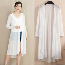 Women Sheer Mesh Kimono Cardigan See Through Summer Long Sunscreen Coat Oversize