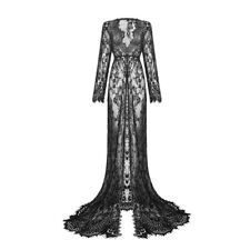 Women's Floral Mesh Full Lace Sexy Long Dress Long Sleeve Party Club Wear S-2XL