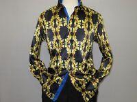 Men Oscar Banks Turkey Shirt Satin Singer Performer 6268-07 Black Gold Floral