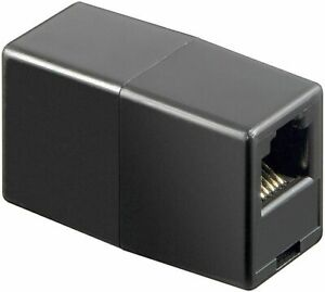 Black RJ12  ADSL Cable Coupler bt,virgin,plusnet,sky joiner broadband 6 pin-6pin