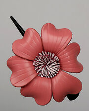 Light Pink Leather flower Hair Clip