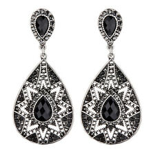 CLIP ON EARRINGS - antique silver Aztec drop earring with black crystals - Bisa