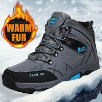 Men's Waterproof Leather Winter Work Hiking Boots Outdoor Warm Fur Lined Shoes