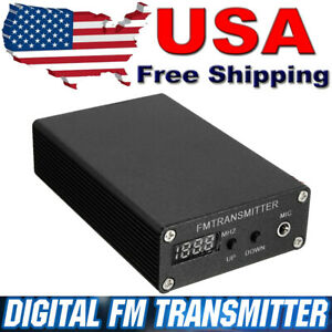 5W Stereo Digital FM Radio Station Transmitter Box Frequency 87-109MHZ Black