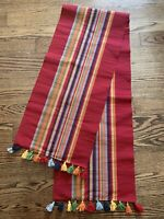 """Table Runner Red Multi Color Striped Tassles  65""""-67"""" Long"""