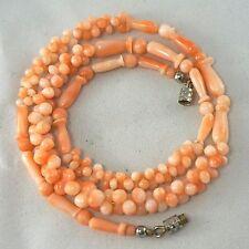"Vintage Graduated Carved Natural Pink Angel Skin Coral Bead Necklace 17.5"""
