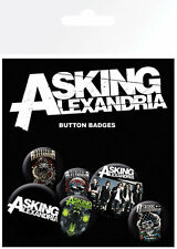 Button Badge 6er Pack ASKING ALEXANDRA - 2x 32mm & 4x 25mm Snake, Skulls NEU