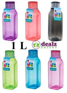 Sistema Square Water Drink Juice Bottle School Office Work Gym 1L BPA Free