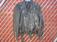 Mens Black Leather Motorcycle Jacket Size 42  Used  Genuine Cowhide Coat