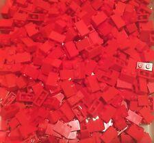 Lego 100 Pieces New Bulk Red 1x2 Brick / Standard Building Bricks Lot