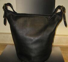 Vintage Coach XL Black Leather Feed Bucket Shoulder Duffle Bag