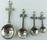 Ganz 4 Piece Set Crosses Faith Decorative Metal Measuring Spoons