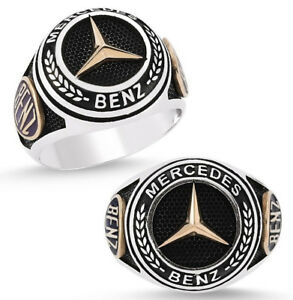 Solid 925 Sterling Silver Mercedes Benz Men's Ring