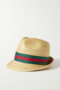 GUCCI Striped straw fedora hat, New with tag!!!