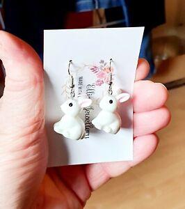 White Rabbit Earrings Cute Animal Earrings Pet Novelty Gift