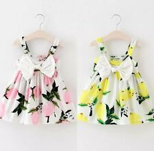 6689d45e37f Baby Girls Summer Dress Outfit Floral Holiday Boutique Bow Lemon Pink 18-24  M