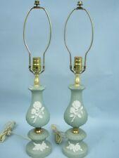 """25"""" Green Wedgewood Type Vintage Table Lamp"""