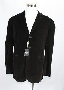 NWT Richards Men's Blazer Jacket 46R Brown Corduroy 3 Button Cotton Made Italy