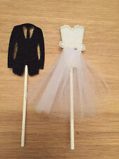 White Wedding Bride Groom Cupcake Toppers Party Cake Anniversary Pretty