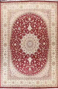 Floral Wool/ Silk Tebriz Oriental Area Rug Dining Room Handmade RED Carpet 9x12
