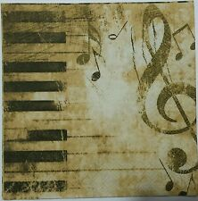 PIANO MUSICAL NOTES  2 single LUNCH SIZE  paper napkins for decoupage 3-ply