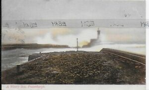 GENUINE VINTAGE POSTCARD,A WINTRY SEA,FRASERBURGH,ABERDEENSHIRE,SCOTLAND,1904