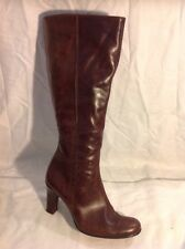 Barratts Brown Knee High Leather Boots Size 4