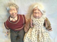 Porcelain Dolls Grandma Grandpa Detailed Clothing Collector Vintage Euc