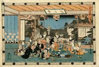 """véritable estampe japonaise originale de Hiroshige """"La revanche des 47 ronins"""" 7"""