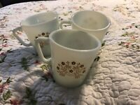 PYREX WHITE MILK GLASS SUMMER IMPRESSION Brown FLOWER FLORAL COFFEE CUP MUG LOT