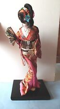 Japanese Geisha Doll Red Brocade Kimono with Pink Lining Wood Base