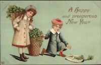 New Year - Children Gathering Good Luck Charms c1910 Postcard