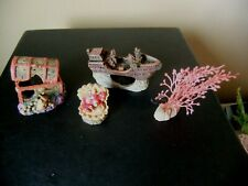 New listing Sunken Ship +Treasure Chest + Oyster Fish Tank Ornaments plus Artificial plant