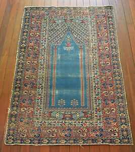 VERY FINE ANTIQUE HAND KNOTTED TURKISH GHIORDES PILE RUG CIRCA 1900'S