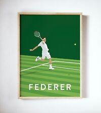 More details for rodger federer art print, tennis player poster, vintage wimbledon print