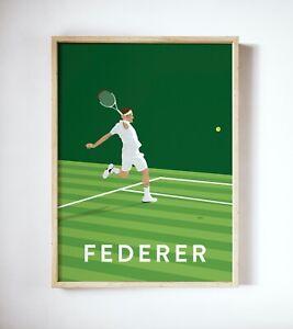 Rodger Federer Art Print, Tennis Player Poster, Vintage Wimbledon Print