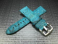 22mm PYTHON Skin Leather Strap Sky Blue Band Tang Buckle Seamaster