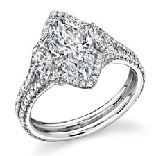 GIA Certified Marquise and Round Shape Diamond Engagement Ring 18k Gold 3.10 CT